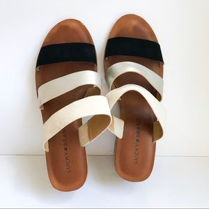 Lucky Brand Rileigh 2 Tan Strappy Leather Sandals